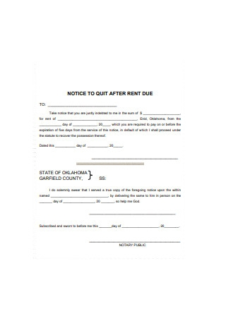 Notice for Quit for After Rent Due Template