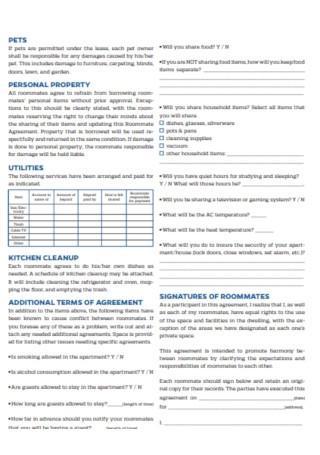 Off Campus Roommate Agreement
