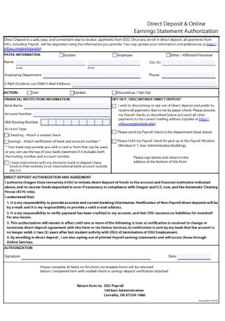 Online Earnings Statement Authorization Form