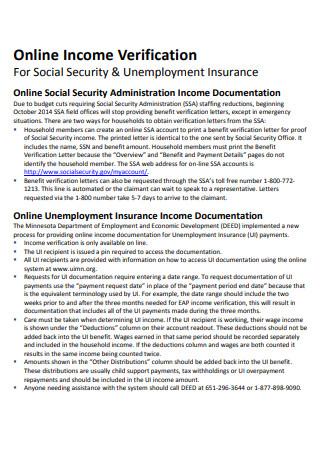 Online Income Verification Letter