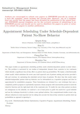 Patient Appointment Scheduling Template
