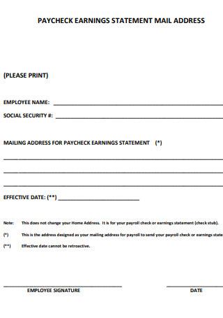 Paycheck Earning Statement Mail Address