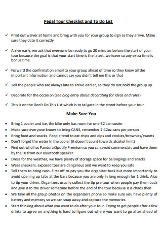 Pedal Tour Checklist and To Do List