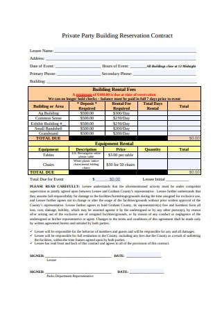 Private Party Building Reservation Contract