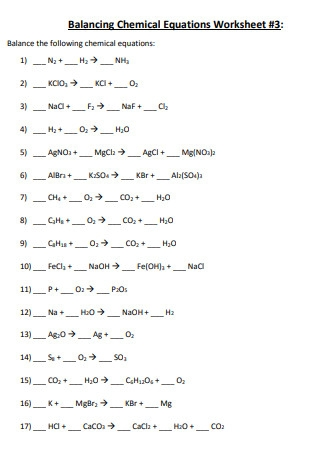 Professional Balancing Chemical Equations Worksheet Example