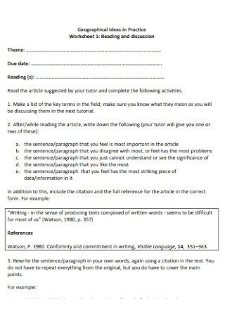 Reading and Discussion Worksheet Template