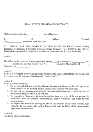 Real Estate Brokarage Sale Contract