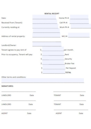 Real Estate Rental Receipt Templates