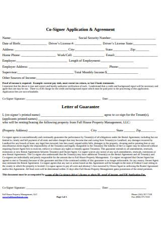 Rental Agreement Application Letter Template