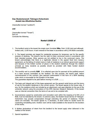 Rental Lease Agreement Letter Template
