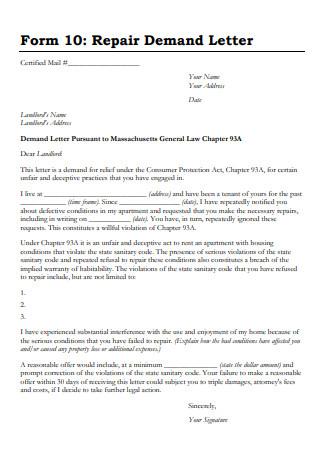 Repair Demand Letter