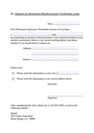 Request for Retirement Benefit Income Verification Letter