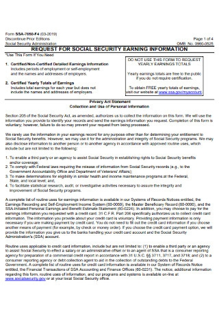 Request for Social Security Earning Statement