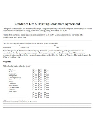 Residence Life and Housing Roommate Agreement