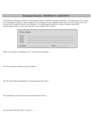 Residential Education Roommate Agreement