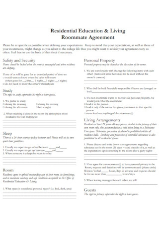 Residential Education and Living Roommate Agreement