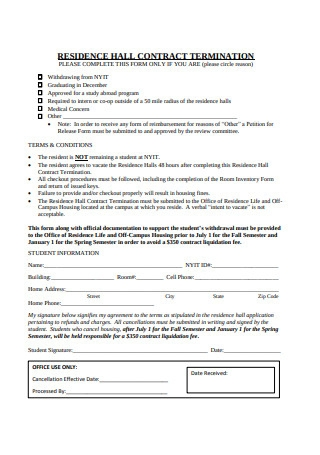 Residential Hall Contract Termination Letter