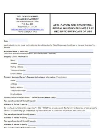 Residential Rental Business Receipt Template