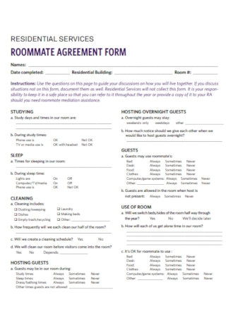 Residential Roommate Agreement Form Template