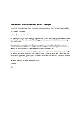 Retirement Announcement Email Template