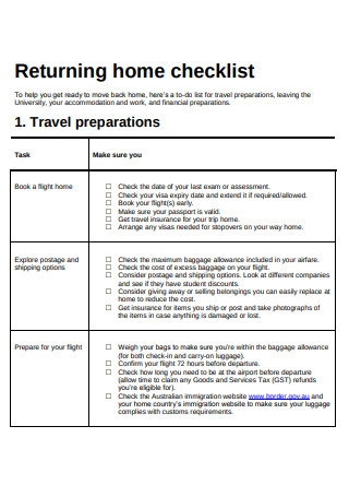 Returning Home Checklist Template