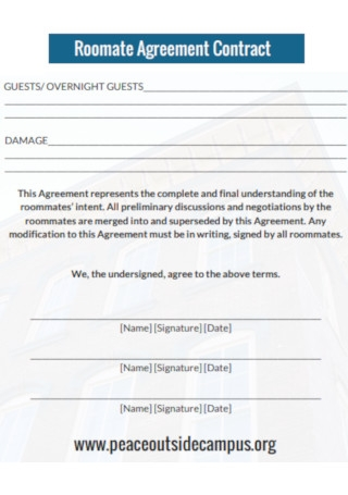 Roomate Agreement Contract Template
