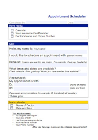Sample Appointment Scheduler Template