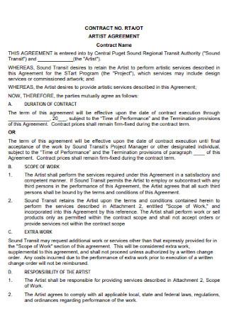 Sample Artist Development Contract Template