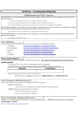 Sample Autobiography and Biography Speech Template