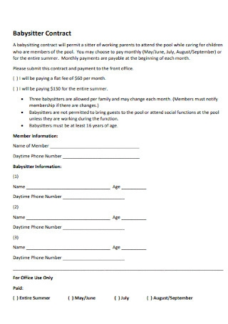Sample Babysitter Contract Template