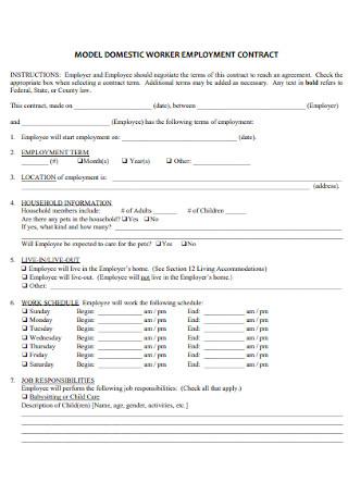Sample Babysitter Worker Employment Contract