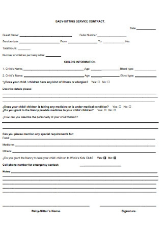 Sample Babysitting Service Contract Template