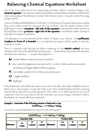 Sample Balancing Chemical Equations Worksheet Example