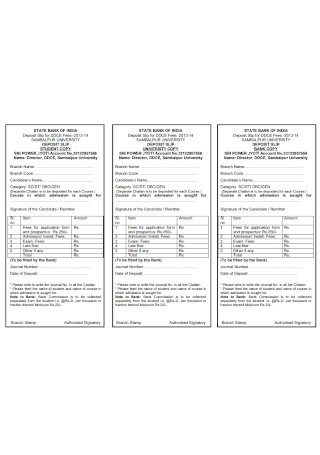 Sample Bank Deposit Slip for Fees Template