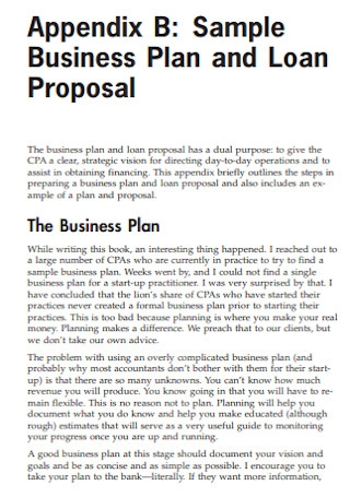 Sample Business Plan and Loan Proposal