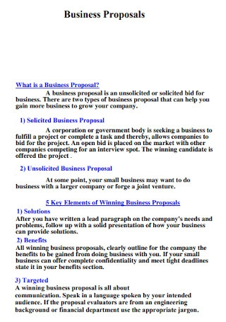 Sample Business Proposals Template