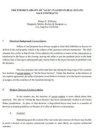 Sample Clauses in Real Estate Sale Contract
