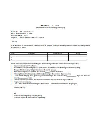 Sample Company Demand Letter