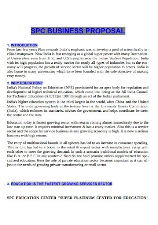 Sample Education Business Proposal