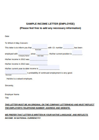 Sample Employee Income Letter Template