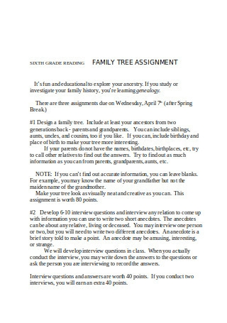 Sample Family Assignment Template