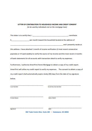 Sample Household Income Letter
