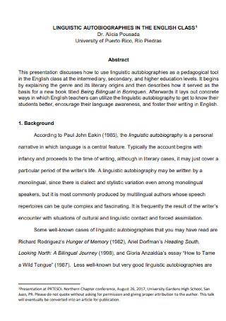 Sample Linguistic Autobiographical Speech