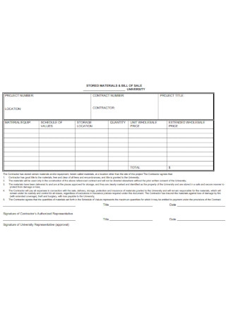 Sample Materials Bill of Sale Contract