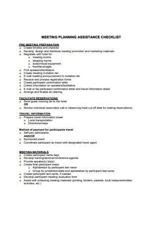 Sample Meeting Planning Assistance Checklist Template