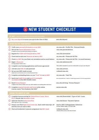 Sample New Student Checklist Template
