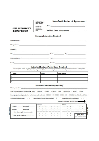 Sample Non Profit Company Letter of Agreement