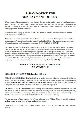 Sample Notice for Non Payment of Past Due Rent Template