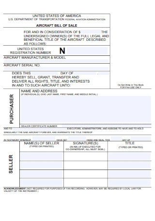 Sample Purchase Bill of Sale Contract
