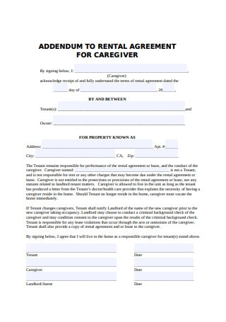 Sample Rental Agrreement for Caregiver Template